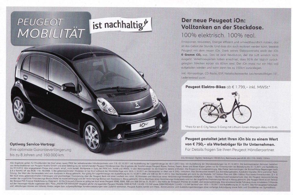Peugeot wirbt in Printwerbung für iOn und Peugeot E-Bikes
