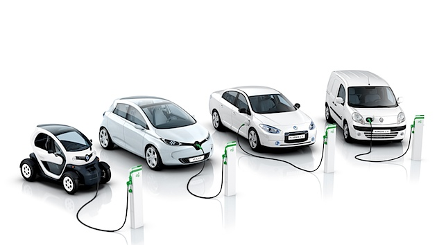 Die 2012 vollständig verfügbare Elektroauto-Flotte von Renault