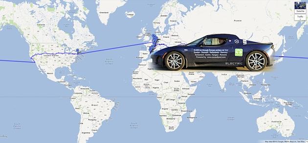 In 80 Tagen mit dem Tesla Roadster um die Welt! Das 1. Serien-Elektroauto-Rennen rund um den Erdball!