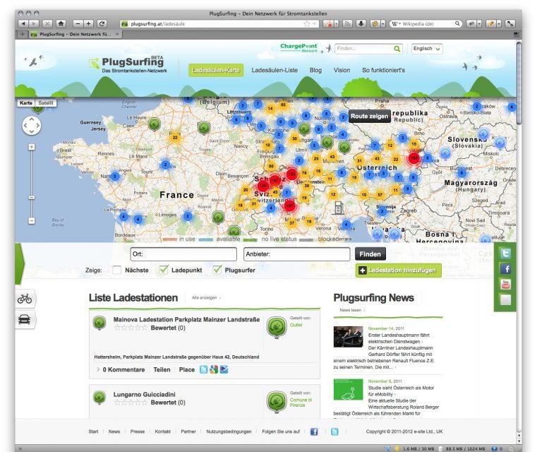 Weltweit Stromtankstellen finden mit PlugSurfing!