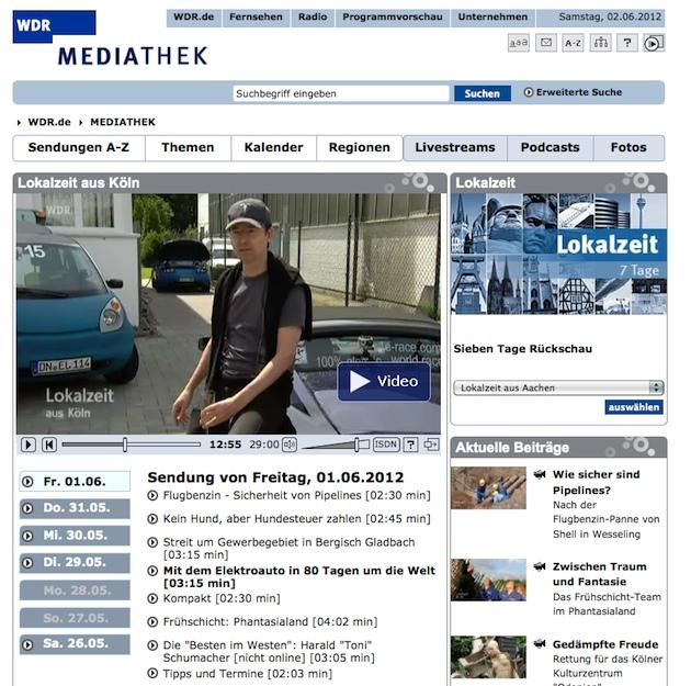 Mit dem Elektroauto in 80 Tagen um die Welt – TV-Bericht vom WDR Köln nun online!