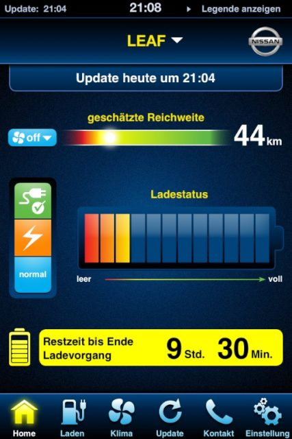Nissan Leaf per iphone steuern