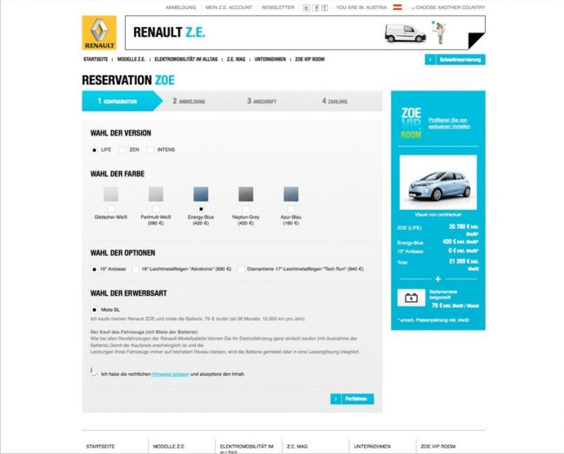 Renault ZOE Reservierung