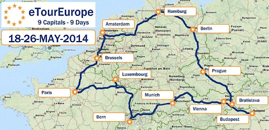 Die Route durch Europa: 9 Hauptstädte, 9 Tage