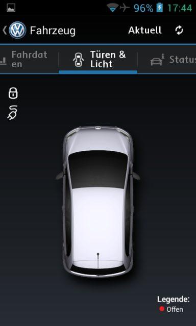 """Das Menü """"Türen & Licht"""" der Car-Net App"""