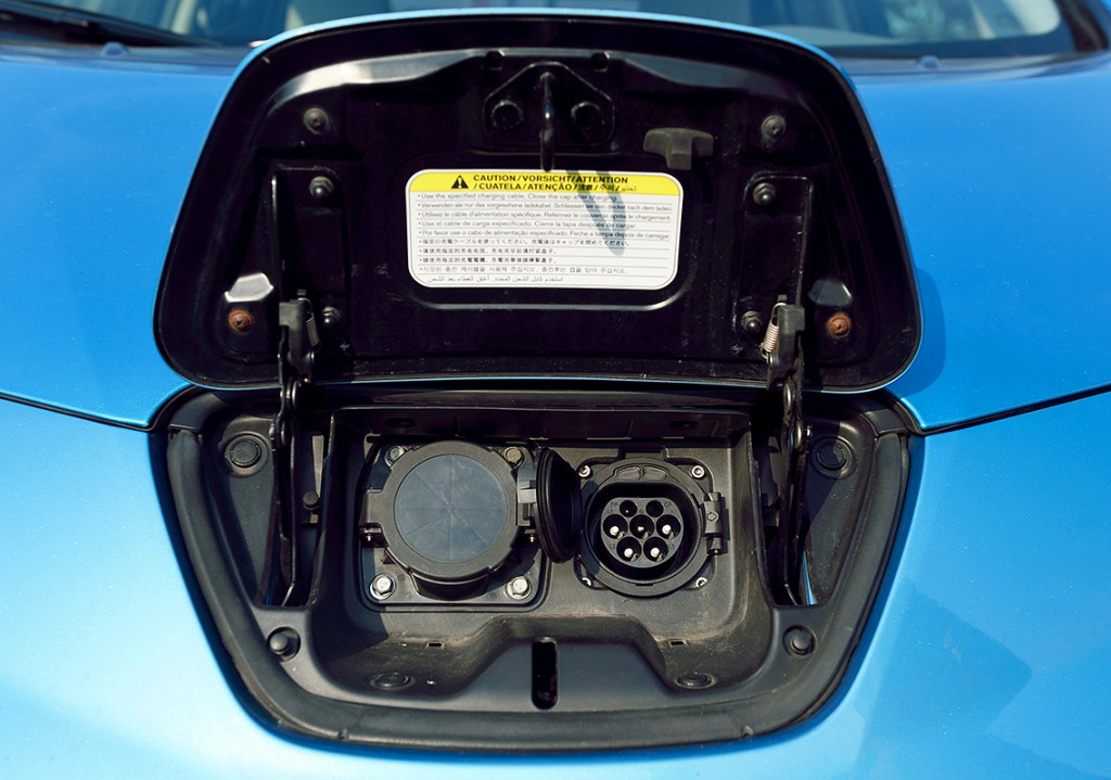 Type2 Inlet instead of the standard type 1 connector on the Nissan Leaf Photo: Kreisel Electric GmbH