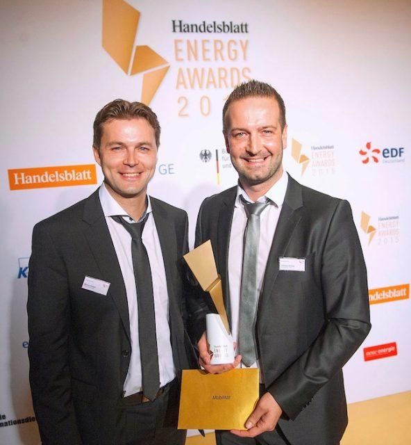 Gewinner Kategorie Mobilität : vlnr: Markus Kreisel und Christian Schlögl von Kreisel Electric bei der Verleihung des Energy Award