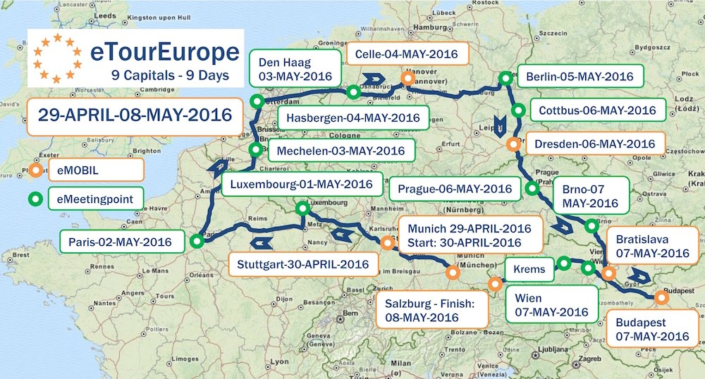 Route der eTourEurope 2016 mit Checkpoints und den 16 eMobil-Events